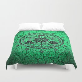 Green Circle Of Triangle Duvet Cover