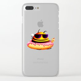 Honey bee donut Clear iPhone Case
