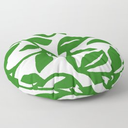 PALM LEAF VINE SWIRL IN GREEN AND WHITE Floor Pillow