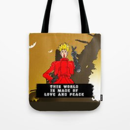 This World is Made of Love and Peace with Background Tote Bag