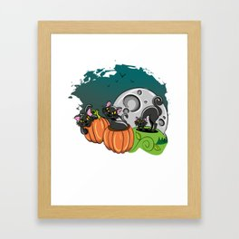 Black Cats and Jack O Lanterns for Halloween Framed Art Print