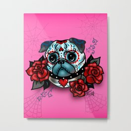 Sugar Skull Pug with Roses on Hot Pink Metal Print