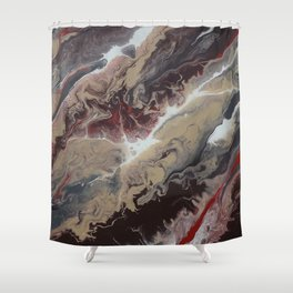 Neutral Black, Red and Brown Painting - Schism Abstract Shower Curtain