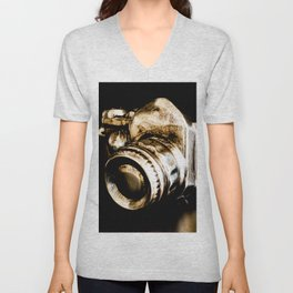 Candid Thoughts: A Modern Silver and Gold Camera Unisex V-Neck