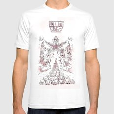 Society #6 MEDIUM White Mens Fitted Tee