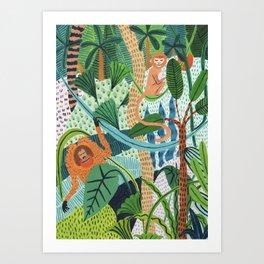 Monkey Pals Art Print