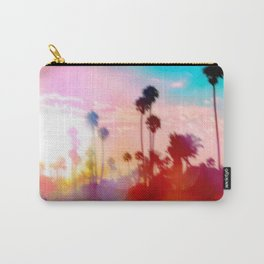 palm tree with sunset sky and light bokeh abstract background Carry-All Pouch