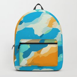 blue orange and brown dirty painting abstract background Backpack