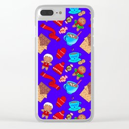 Cozy winter seamless pattern. Christmas season. Chocolate, hot cocoa, hats, candy, gingerbread men Clear iPhone Case
