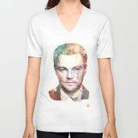 leonardo V-neck T-shirts featuring Leonardo DiCaprio by Nechifor Ionut