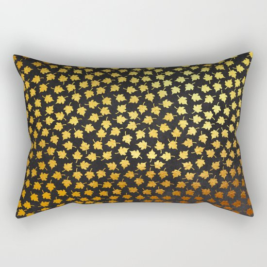 AUTUMN - small gold leaves on chalkboard background Rectangular Pillow