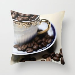 Coffee beans in the old cappuccino cup Throw Pillow