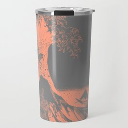 The Great Wave Peach & Gray Travel Mug
