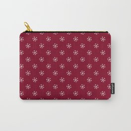 White on Burgundy Red Snowflakes Carry-All Pouch