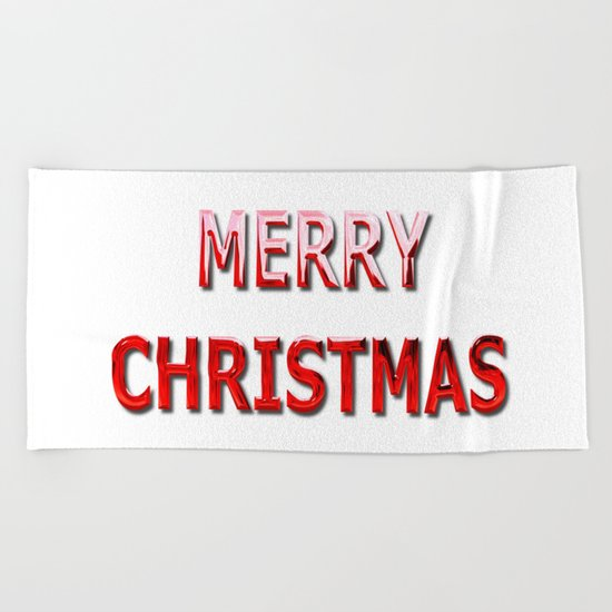 Merry Christmas Message in Red Chrome Beach Towel