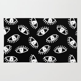 Eyes linocut black and white minimal eyes carving pattern Rug