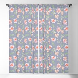 Blue Moody Florals Blackout Curtain