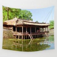 tomb raider Wall Tapestries featuring Xung Khiem Pavilion, Tu Duc Tomb, Hue, Vietnam by Ciaran Mcg
