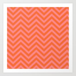 Japanese Seigaiha Wave - Pink And Orange Palette Art Print