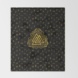 Gold Valknut Symbol on Runes Pattern Throw Blanket