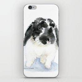 Black and White Bunny Rabbit Watercolor iPhone Skin