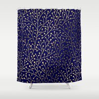 navy Shower Curtains featuring Gold Berry Branches on Navy by Cat Coquillette