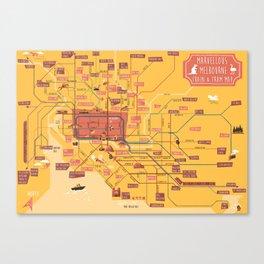 Melbourne Rail Map Canvas Print