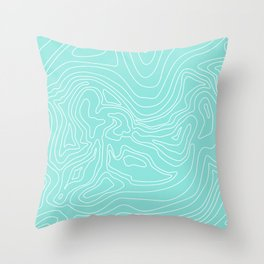 Ocean depth map - turquoise Throw Pillow