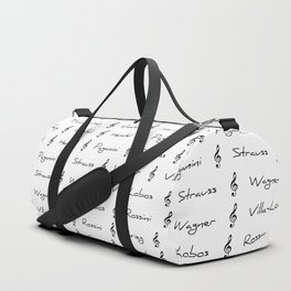 Classical Music Composers, pattern, Mozart, Beethoven, Chopin Duffle Bag
