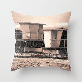 Alien's House At Beach Throw Pillow