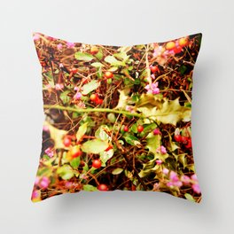 Winter blossom and berries Throw Pillow