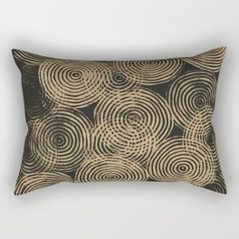 Radial Block Print in Charcoal and Gold Rectangular Pillow