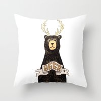 beer Throw Pillows featuring Beer by Cale LeRoy