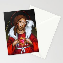 modern folk icon - Christ the Good Shepherd Stationery Cards