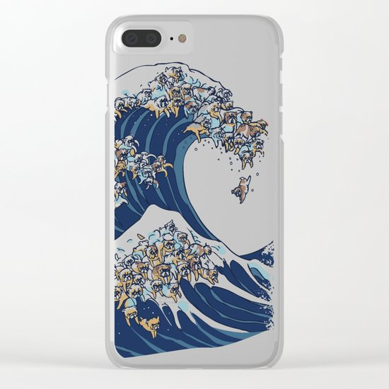 The Great Wave of English Bulldog Clear iPhone Case