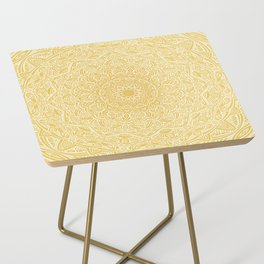 Most Detailed Mandala! Yellow Golden Color Intricate Detail Ethnic Mandalas Zentangle Maze Pattern Side Table