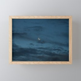 Morning Moonrise: Crescent in the Clouds Framed Mini Art Print