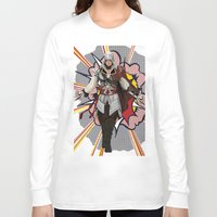 lichtenstein Long Sleeve T-shirts featuring Assassisn Creed Ezio with a Roy Lichtenstein background by Peter Brown