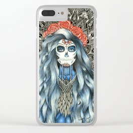Full Page Day of the Dead Woman Mandala Clear iPhone Case