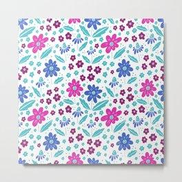 blue, pink and teal flowers Metal Print