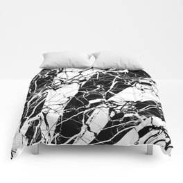 Rays Of Marble - Black and White, marble textured, abstract art Comforters