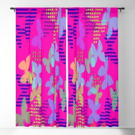 Striped, Plaid and Colorful Butterflies Blackout Curtain