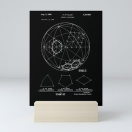 Buckminster Fuller 1961 Geodesic Structures Patent - White on Black Mini Art Print