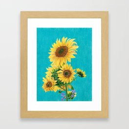 Sunflowers & Friends Framed Art Print