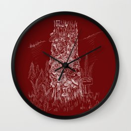 Shoetree in Deep Red Wall Clock