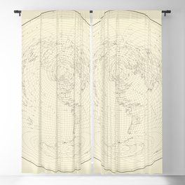 Vintage Map Print - 1947 Equidistant Chart of the World Centered on the United States Blackout Curtain