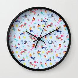 Seaside Mermaids - Pastel Blue Wall Clock