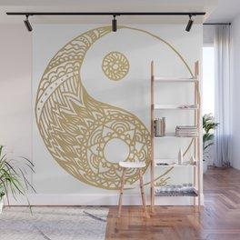 Golden Yin Yang Wall Mural