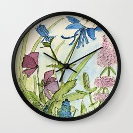 Columbine Garden Flower Watercolor Wall Clock