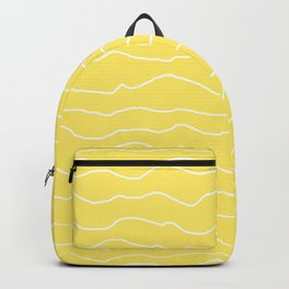 Yellow with White Squiggly Lines Backpack